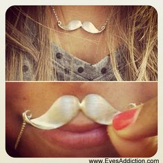 Sterling Silver Mustache Necklace