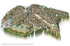 Naboo city of Theed, with the Palace at the bottom right
