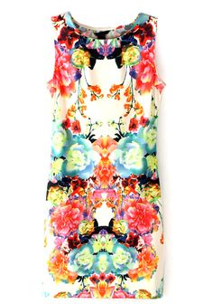 Multi+Sleeveless+Floral+Bodycon+Dress+US$23.00