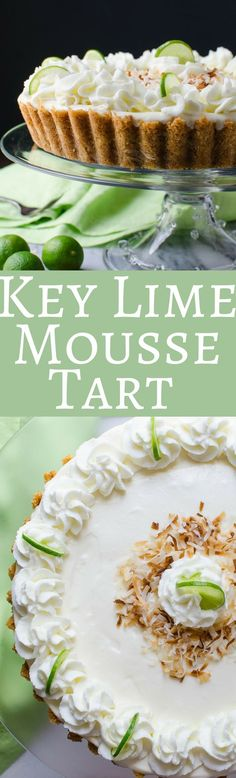 Lime Mousse Tart This creamy Key Lime Mousse Tart recipe can be served chilled or frozen! A delicious spring or summer dessert and perfect for Easter and Mother's Day! via creamy Key Lime Mousse Tart recipe can be served chilled or froz Beaux Desserts, Köstliche Desserts, Delicious Desserts, Dessert Recipes, Health Desserts, Plated Desserts, Spring Desserts, Lemon Desserts, Lime Recipes