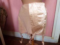 Antique French 1920s peach boned corset lingerie shapewear