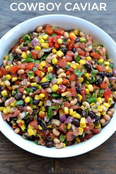 Cowboy Caviar is a c Cowboy Caviar is a colorful blend of fresh. Cowboy Caviar is a c Cowboy Caviar is a colorful blend of fresh ingredients beans and mild spices with a touch of lime juice. Serve with your favorite chips for a fabulous healthy appetize Mexican Food Recipes, New Recipes, Vegetarian Recipes, Cooking Recipes, Healthy Recipes, Dishes Recipes, Healthy Dips, Easy Recipes, Food Recipes Snacks