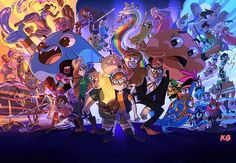 The ultimate modern TV cartoon crossover? Gumball/Steven Universe/Wander Over Yonder/Legend of Korra/We Bare Bears/Powerpuff Girls/SpongeBob/Adventure Time/Gravity Falls/Teen Titans/Star vs the Forces of Evil. If you know the artist let us know. by cartoonbrew