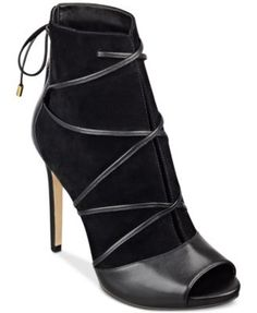 GUESS Women's Ayana Peep Toe Lace-Up Booties | macys.com