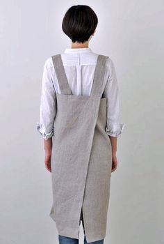 Image of FOG LINEN WORK | Square Cross Apron NATURAL