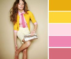 Color combinations, color schemes, yellow cardigan, color blocking, retro f Colour Combinations Fashion, Color Combinations For Clothes, Fashion Colours, Colorful Fashion, Color Combos, Color Schemes, Fashion Mode, Look Fashion, Fashion Outfits