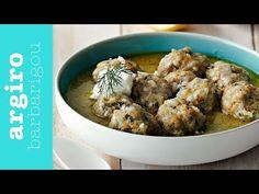 Γιουβαρλάκια αυγολέμονο • Argiro Barbarigou - YouTube Shrimp Pasta Dishes, Greek Recipes, Stew, Meat, Chicken, Breakfast, Food, Curries, Soups
