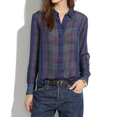 Madewell - Silk Bromley Blouse in Dark Plaid