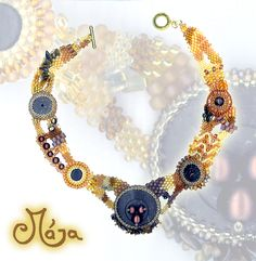 Free for chocolate necklace- another freeform with piece of coconut shell, tiger's-eye and sea pearls.