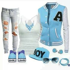 Baby blue cute outfit. I would totally wear this anyday. especially since the jacket has my first initial on it.