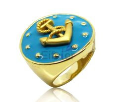 High gold plating charming ring with blue drop oil & hook shape decoration fully show fashionable element