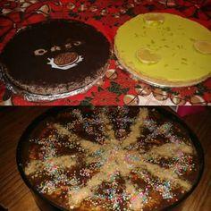 3 postres: cheesecake de Oreo. De limon y marquesa de chocolate.