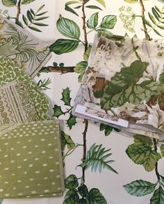 this beautiful green scheme by and especially loving our Ollie and Kinnicutt fabrics in the mix with ・・・ Working on some outbuildings for a project in Montecito. just wait for this one, talk about BEAUTIFUL! Green Color Schemes, Green Colors, English Cottage Interiors, Custom Valances, Fabric Board, Reupholster Furniture, Fabric Combinations, Green Pillows, Living Room Green