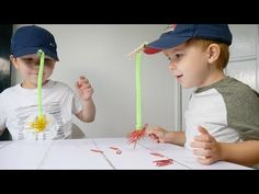 This is, perhaps, the simplest and the funniest magnet fishing game with paperclips! I taped a magnet to a pipe cleaner and attached it to the front of a cap. Educational Activities For Kids, Indoor Activities, Sensory Activities, Preschool Activities, Kids Learning, Fun Christmas Party Ideas, Christmas Games, Holiday Parties, Fishing Games For Kids