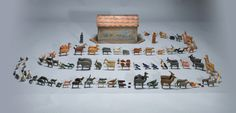 Antique German Noah's Ark with 180 hand carved and painted animals and Noah and his wife.