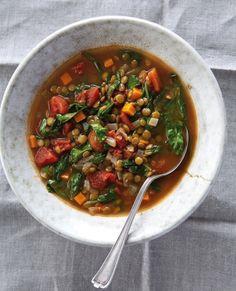 Verduras y sopa de lentejas