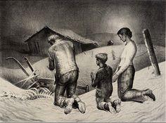 James E. Allen: Prayer for Rain, 1938 lithograph
