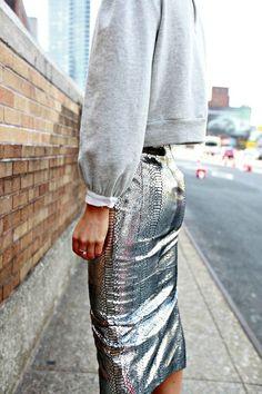 silver pencil skirt