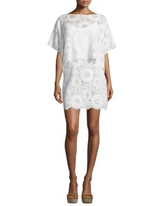 TBW6Y Trina Turk Flutter-Sleeve Lace Popover Sheath Dress