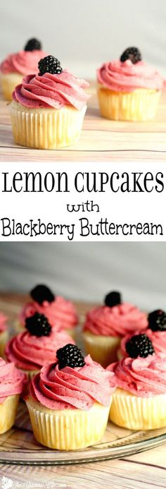 Lemon Cupcakes Recipe topped with a blackberry buttercream. This lemon cupcakes recipe is delicious and refreshing.  Would be so pretty for a party or shower!