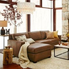 Brown Leather Couch Living Room, Brown And Blue Living Room, Tan Leather Sofas, Living Room Sofa, Living Room Interior, Home Living Room, Brown Couch Decor, Leather Sectional, Apartment Living