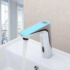 94.51$  Buy now - http://alikye.worldwells.pw/go.php?t=32371493718 - Blue Deck Mount Sensor Torneira Digital Display Bathroom Automatic Hands Sensor Wash Basin Chrome 89017 Sink Tap Mixer Faucet 94.51$