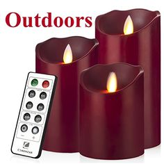 Outdoor Indoor Candles Waterproof Battery Operated candles with Remote timer 12H Flickering Flameless candles set of 3456BurgundyComenzar *** To view further for this item, visit the image link.