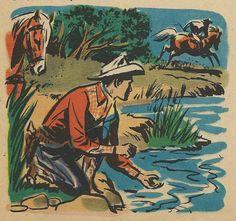 """vintagecowboy: """"""""Wonder what spooked that guy? Floral Illustrations, Illustration Art, Cowboy Art, Happy Trails, Vintage Comics, Old West, Western Art, Vintage Children, Vintage Prints"""