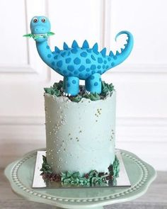 Blue Dino Cake topper made with Satin Ice Blue Fondant Dinosaur Birthday Cakes, Baby Birthday Cakes, Dinosaur Cake, Cute Dinosaur, Dino Cake, Different Cakes, Little Cakes, Cakes For Boys, Cupcake Cookies
