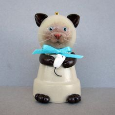 Siamese Kitty Flowerpot Bell Ornament by SanquiCreations on Etsy