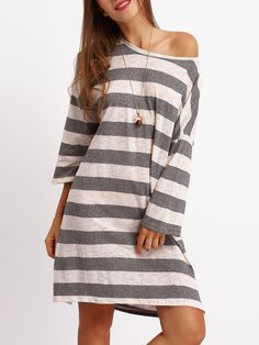 Shop Grey White Crew Neck Striped Loose Dress online. SheIn offers Grey White Crew Neck Striped Loose Dress & more to fit your fashionable needs.