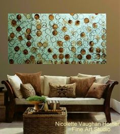 XLarge ORIGINAL Abstract textured gallery wrap canvas-Contemporary City multicolor Oil painting by Nicolette Vaughan Horner