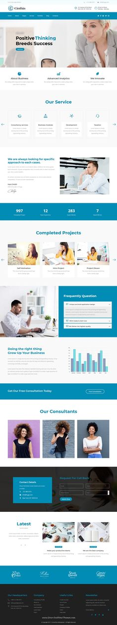 Cinthia is clean and modern design 2in1 responsive HTML #bootstrap template for #consulting business and #finance services website to live preview & download click on Visit