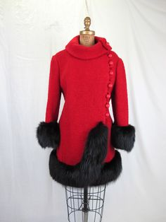 1960s Red Boucle and Black Fox Coat, Winter Jacket. $ 175.00.