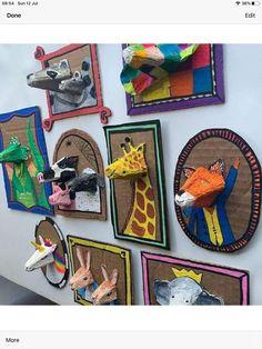 School Art Projects, Projects For Kids, Classe D'art, Fun Crafts, Arts And Crafts, Animal Crafts, Animal Art Projects, Craft Activities For Kids, Recycled Art