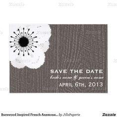 Barnwood Inspired French Anemone Save The Date 3.5x5 Paper Invitation Card