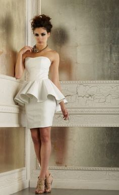 MADISON CORSET & LOGAN SKIRT- Della Giovanna Off-White Leather Peplum with Matching Leather Pencil Skirt Edgy Bridal Gown/ Reception Dress. These are Bridal Separates so that you can mix and match the pieces to make your own unique dress!
