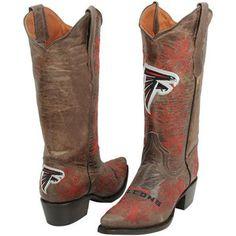 Atlanta Falcons Womens Embroidered Cowboy Boots - Brown