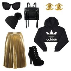 """""""street chic"""" by kaycie-marie-surrell on Polyvore featuring adidas, A.L.C., McQ by Alexander McQueen, Delalle, Black and Chanel"""