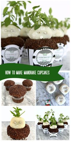 These Mandrake cupcakes will be the hit of any Harry Potter party or celebration (free printable Mandragora label included! Harry Potter Desserts, Harry Potter Treats, Gateau Harry Potter, Harry Potter Food, Harry Potter Birthday, Harry Potter Cupcakes, Whipped Chocolate Frosting, Chocolate Sprinkles, Harry Potter Mandrake