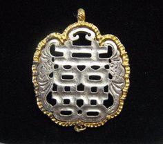 Vintage Necklace Pendant SIGNED KENNETH JAY LANE KJL Part Piece Silver & Gold