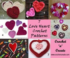 Valentine's Day is just a couple of day's away and is a perfect day to create some lovely crochet items for, I've made a roundup of seven love heart
