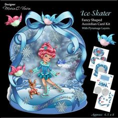 Ice Skater on Craftsuprint designed by Maria Christina Vieira  - This is a very cute card kit with good color, Pyramage layers which can be used or not by choice( Optional ),a large bow to give that beautiful 3D finishing touch, and this card is accordion standalone which folds flat and fits nicely in an envelope.There is a Oval shape note or greeting area on the back card for your own choice of wording or poem.approx. 6.5 x 8 - Now available for download!