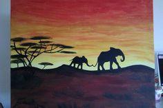 Schilderij olifant bij zonsondergang