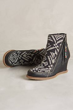 Tapestry Wedge Boots