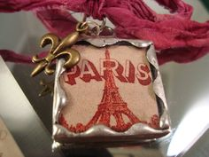 PINK PARIS  Soldered Art Glass Pendant or by victoriacharlotte, $7.75