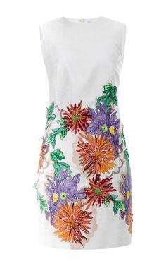 Embroidered White Jacquard Sheath Dress by Blumarine for Preorder on Moda Operandi