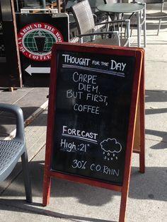 Coffee board downtown