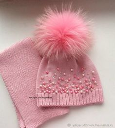 Knitted hat for girls – buy or order in the online store at the Fair of Masters Crochet Kids Hats, Baby Hats Knitting, Knitting For Kids, Baby Knitting Patterns, Knitting Designs, Crochet Baby, Knitted Hats, Knit Crochet, Crochet Patterns
