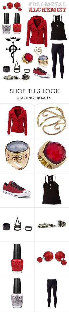 """""""Fullmetal Alchemist: Edward Elric"""" by ashgracias ❤ liked on Polyvore featuring Doublju, ASOS, Blu Bijoux, Converse, Betsey Johnson, Charlotte Russe, OPI, Bling Jewelry and Jockey"""